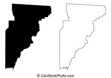 Jefferson County, Florida (U.S. county, United States of America, USA, U.S., US) map vector illustration, scribble sketch Jefferson map