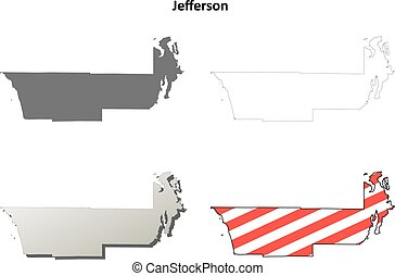 Jefferson County, Washington outline map set
