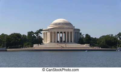 Jefferson Memorial Zoom - Tourists climb the steps of the...