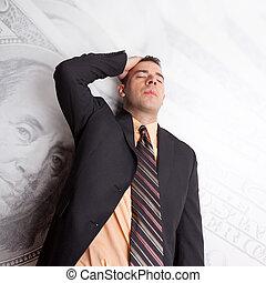 jeg stressede ydre, omkring, penge