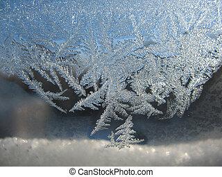 jeges, motívum, képben látható, tél, ablak