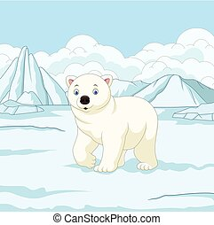 jegesmedve, karikatúra, snowfield