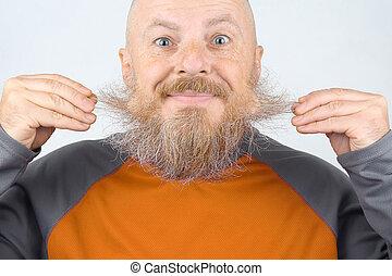 jego, łysy, brodaty, dotykanie, uśmiechnięty człowiek, broda