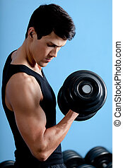 jego, atleta, muskularny, używa, hantel, przystojny