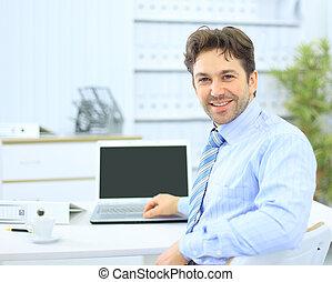 jego, biuro, handlowy, posiedzenie, laptop, biurko, człowiek