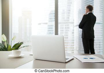 jego, biuro, handlowy, przypatrując, zaufany, człowiek
