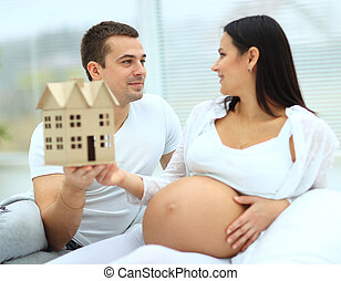 jego, brzemienny, demonstruje, żona, przyszłość, dom, wzór,...