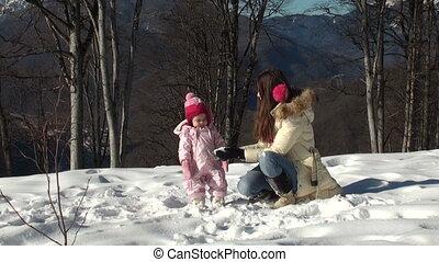jego, córka, snowballs, macierz grająca, szczęśliwy