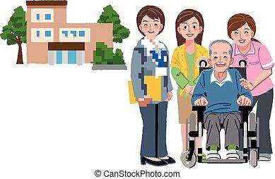 jego, córka, wheelchair, caregivers, senior, uśmiechnięty ...