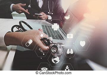 jego, co, biuro, tabliczka, laptop, nowoczesny, faktyczny, pojęcie, diagram, telefon, pracujący, komputer, cyfrowy, medyczny zaprzęg, spotkanie, szpital, mądry