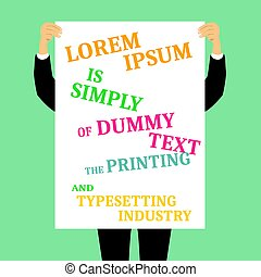 jego, copyspace, och, tekst, twarz, deska, dzierżawa, czysty, przód, biznesmen