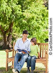 jego, czytanie książka, ojciec, syn