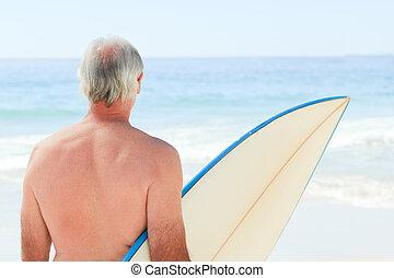jego, emerytowany, sanki wodne, człowiek