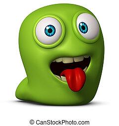 jego, glista, zielony, kłaść, język na zewnątrz