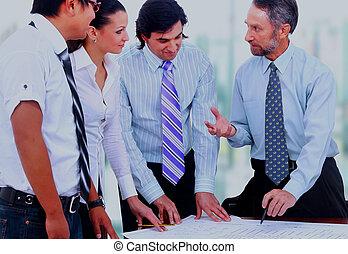 jego, handlowe spotkanie, praca, -, dyrektor, dyskutując, koledzy.