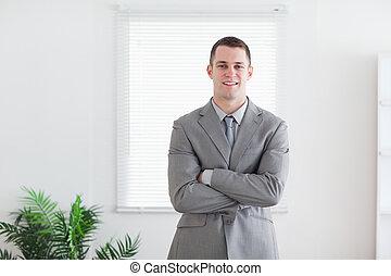 jego, handlowy, fałdowy herb, uśmiechnięty człowiek