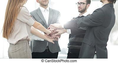 jego, handlowy, pokaz, drużyna, razem, ich, jedność, siła robocza, biznesmen, obciskany