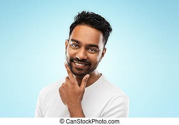 jego, indianin, dotykanie, uśmiechnięty człowiek, broda