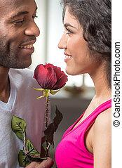 jego, indianin, propozycja, róża, patrząc, kobieta, ładny, ...