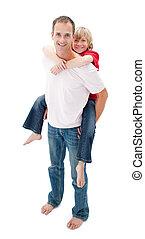 jego, jazda, kochający, ojciec, udzielanie, syn, piggyback