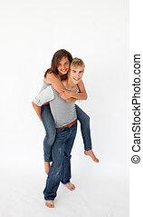 jego, jazda, udzielanie, sympatia, chłopiec, piggyback, młody