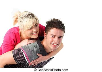 jego, jazda, udzielanie, sympatia, chłopiec, piggyback
