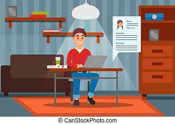 jego, komputerowy pokój, pracujący, ilustration, laptop, młody, wektor, wewnętrzny, uśmiechanie się, dom, człowiek