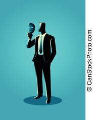 jego, maska, twarz, dzierżawa, przód, biznesmen