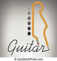 jego, nazwa, ołówek, gitara, pozwy, własny