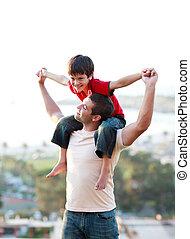 jego, ojciec, udzielanie, syn, piggyback