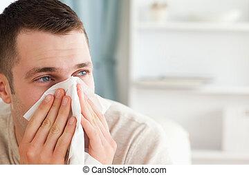 jego, podmuchowy, chory, nos, człowiek