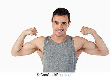 jego, pokaz, samiec, mięśnie, młody