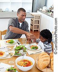 jego, posiadanie, ojciec, obiad, syn, zadumany