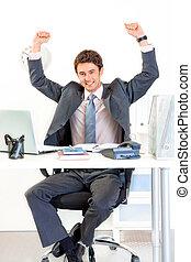 jego, powodzenie, biuro, posiedzenie, nowoczesny, biurko,...