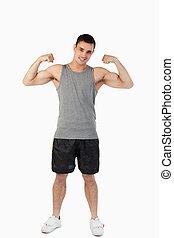 jego, przedstawiając, samiec, mięśnie, młody