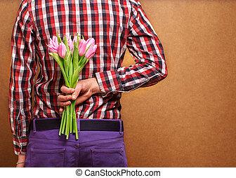 jego, róża, para, -, usługiwanie, kobieta, człowiek, kochający