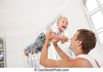 jego, stary, miesiące, ojciec, młody, syn, dziewięć, dom