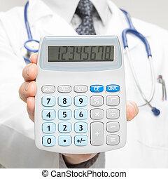 jego, strzał, doktor, kalkulator, -, ręka, 1, closeup,...