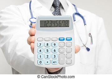 jego, strzał, doktor, kalkulator, -, ręka, closeup,...