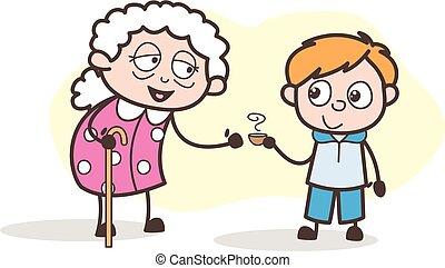 jego, wnuk, herbata, ilustracja, babcia, gorący, wektor, ...