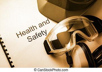 jegyzék, noha, védőszemüveg, fülhallgató, és, sisak