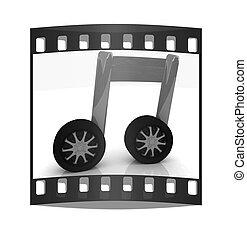 jegyzet, car-wheel., film mez