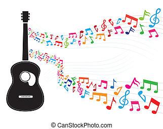 jegyzet, gitár, úszó, színes