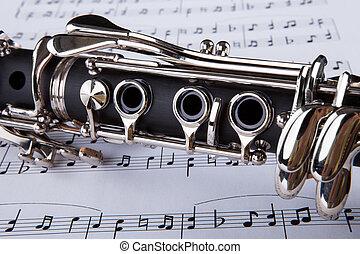 jegyzet, klarinét, zenés