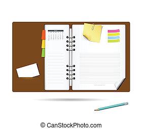 jegyzet, napló, könyv, tervezés, modern