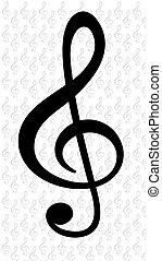 jegyzet, symb, vektor, zene, ábra
