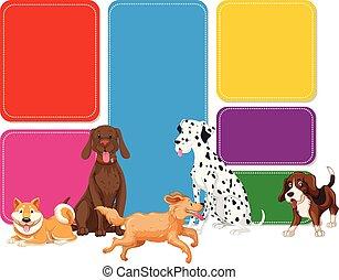 jegyzet, színpompás, kutya