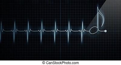 jegyzet, szív, zene, monitor