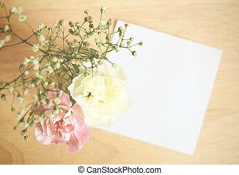 jegyzet, virág, dolgozat, hatás, szűr, retro, tiszta