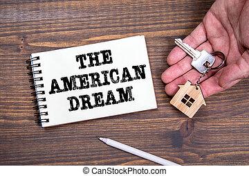 jegyzetfüzet, amerikai, szöveg, álmodik, concept., handwriitng